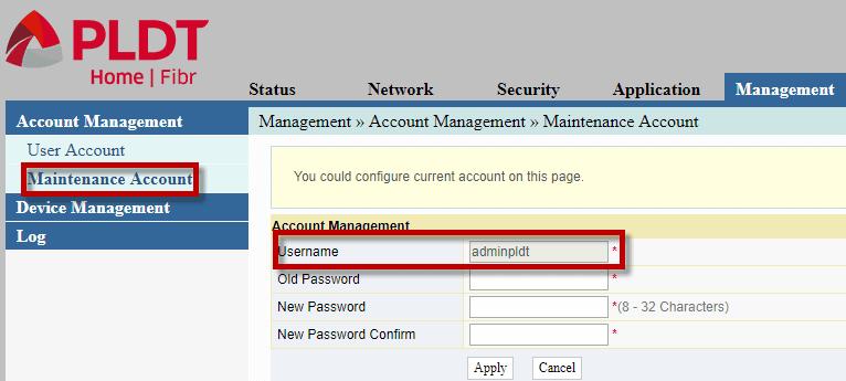 how to change pldt fibr password
